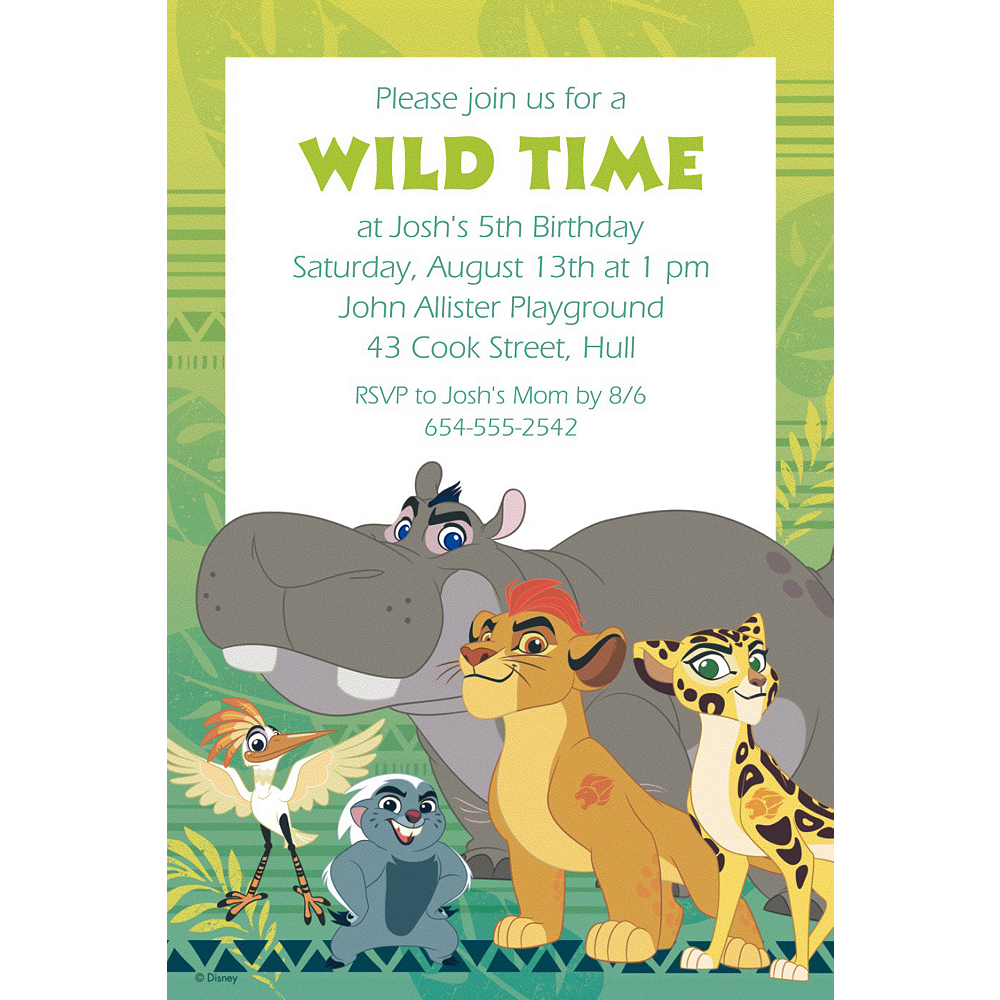 Custom Lion Guard Invitation