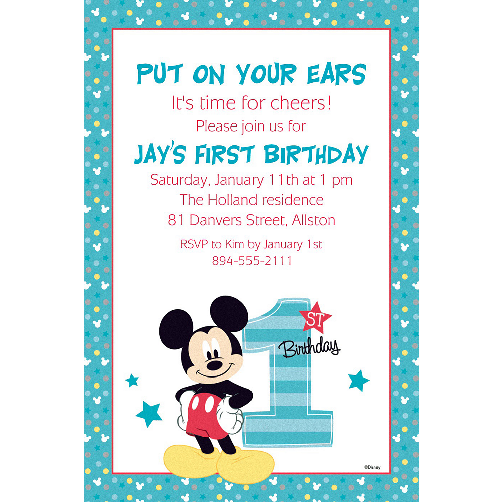 Custom Mickey\'s 1st Birthday Invitation | Mickey Mouse 1st Birthday ...