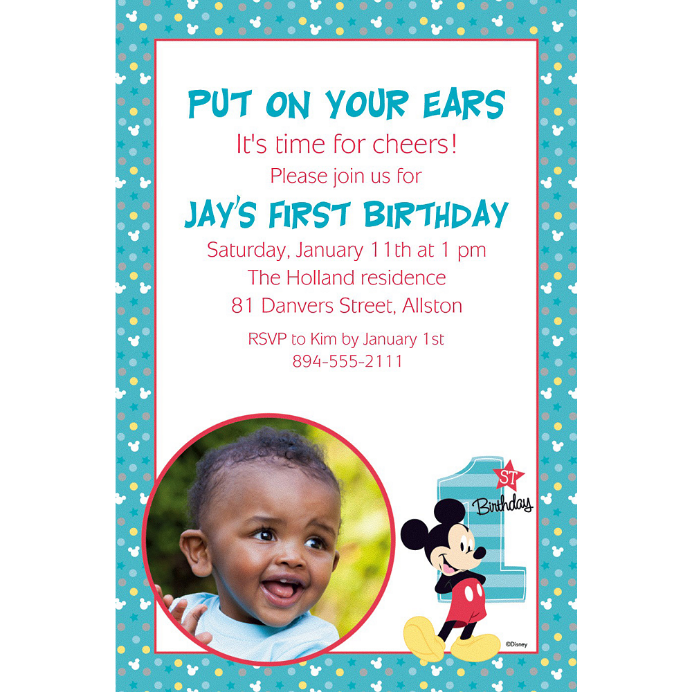 Custom Mickey\'s 1st Birthday Photo Invitation | Mickey Mouse 1st ...