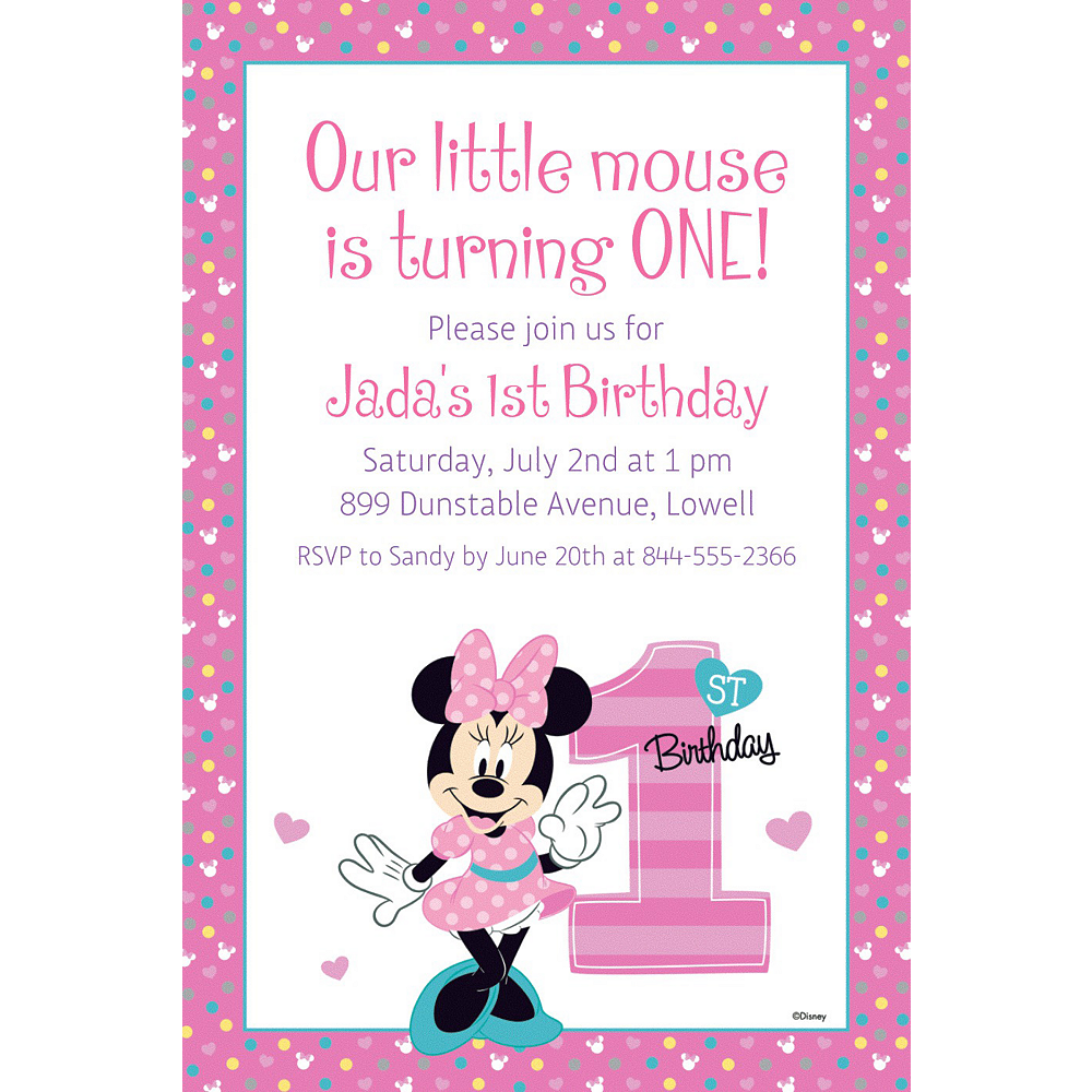 Custom Minnies 1st Birthday Invitation Image 1