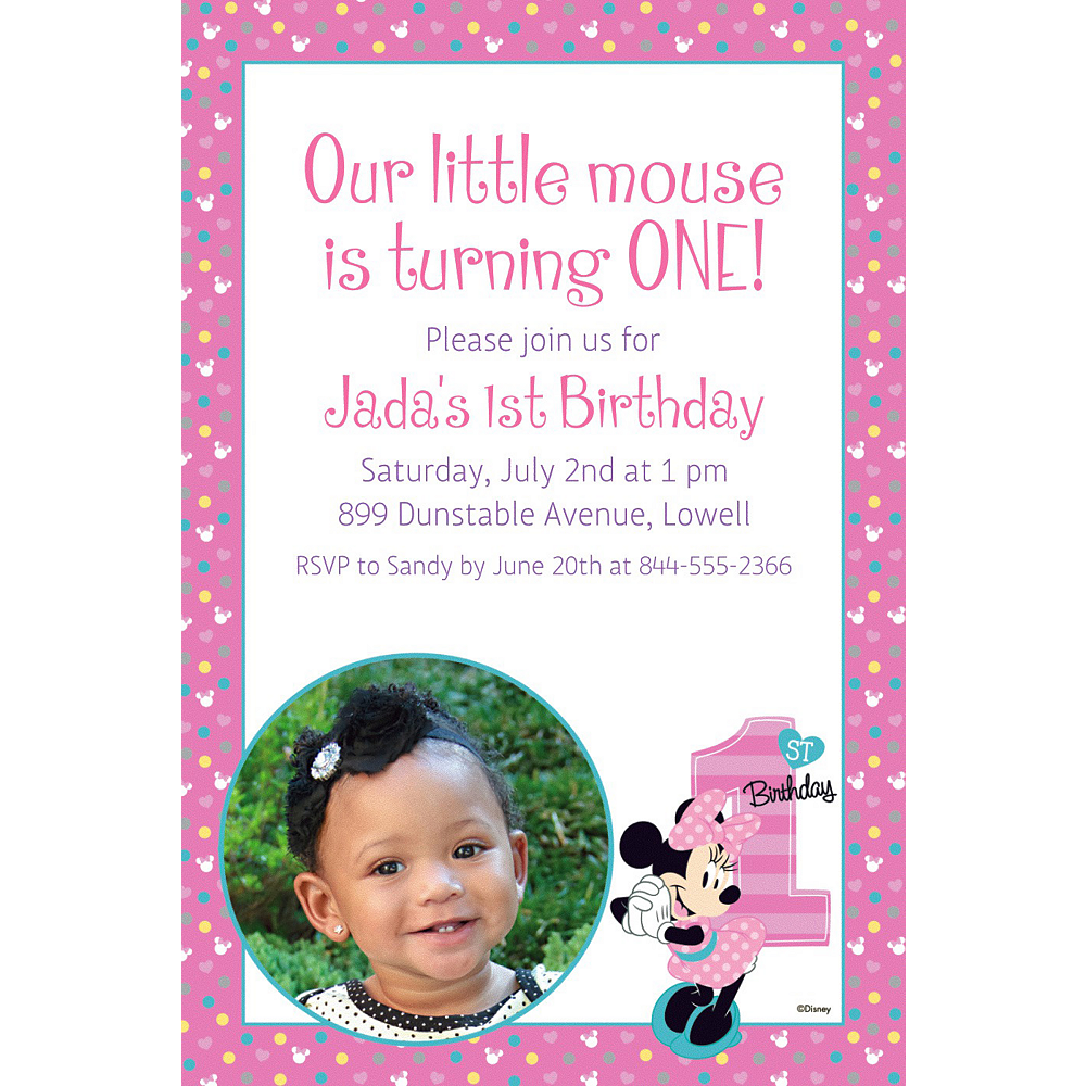 Minnie Mouse 1st Birthday Party Invitations >> Pink And Gold Minnie ...