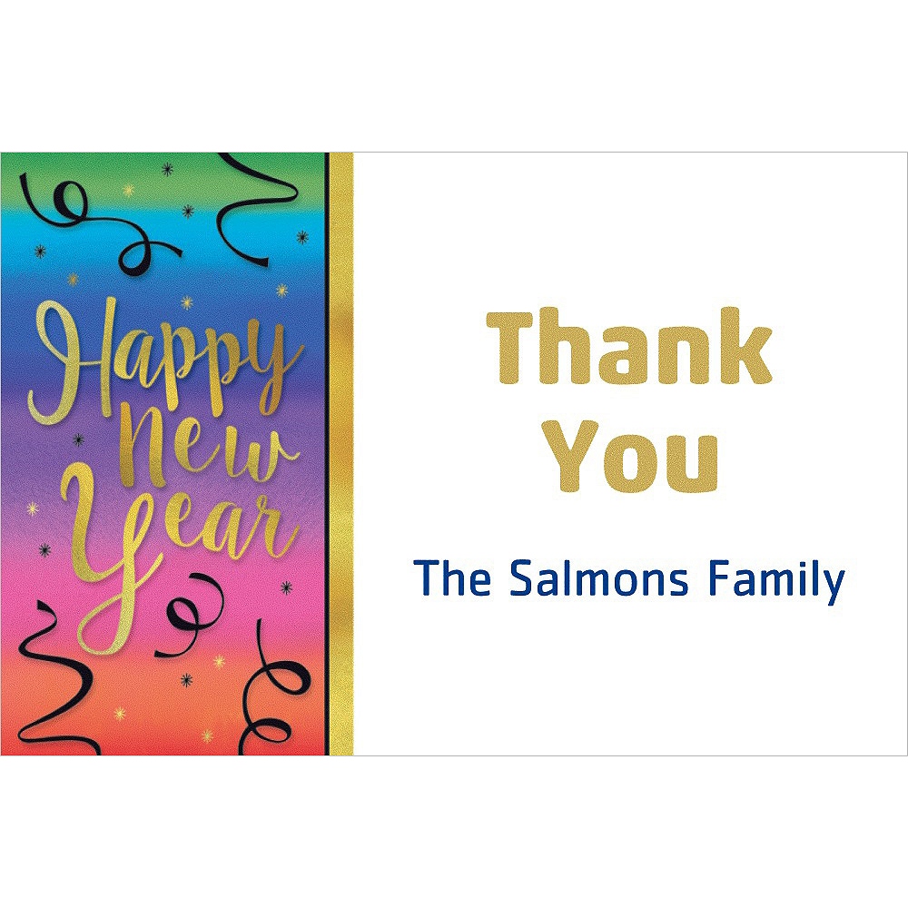 Custom Colorful Happy New Year Thank You Note Image #1