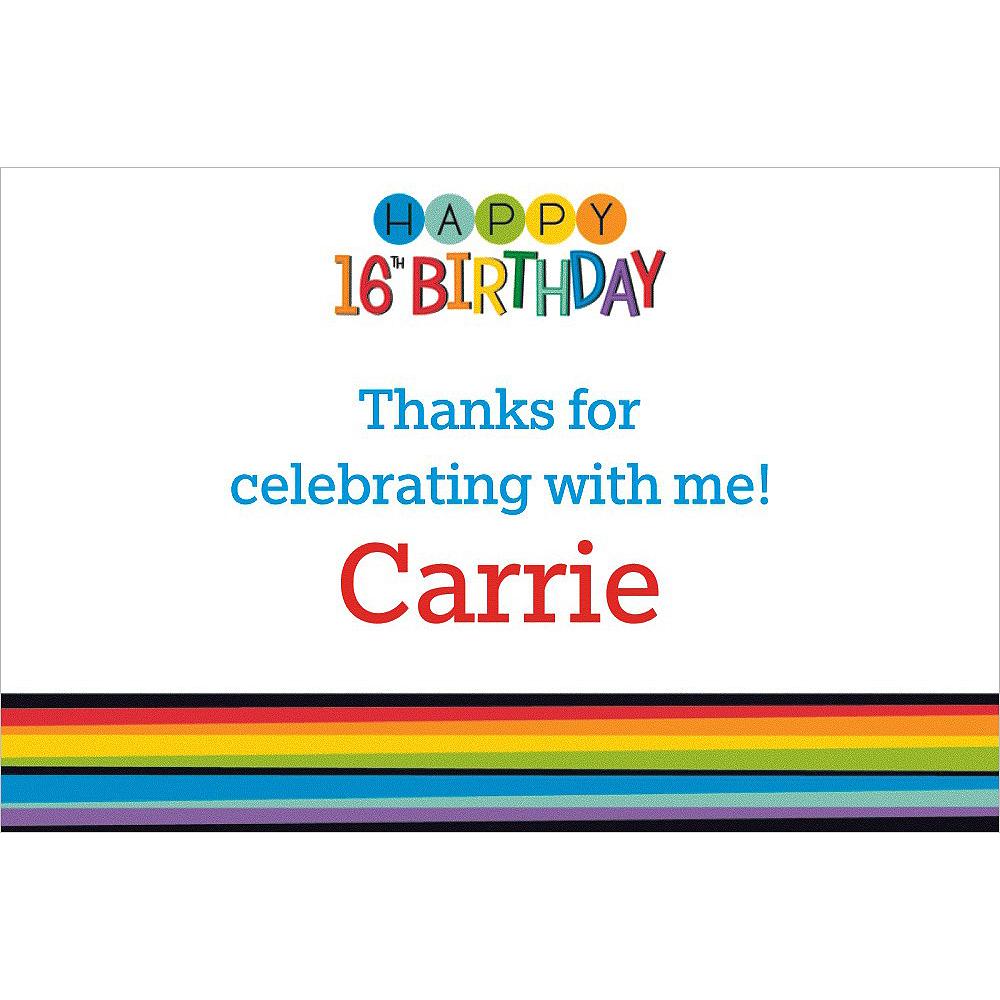 Custom Rainbow 16th Birthday Thank You Note Image #1
