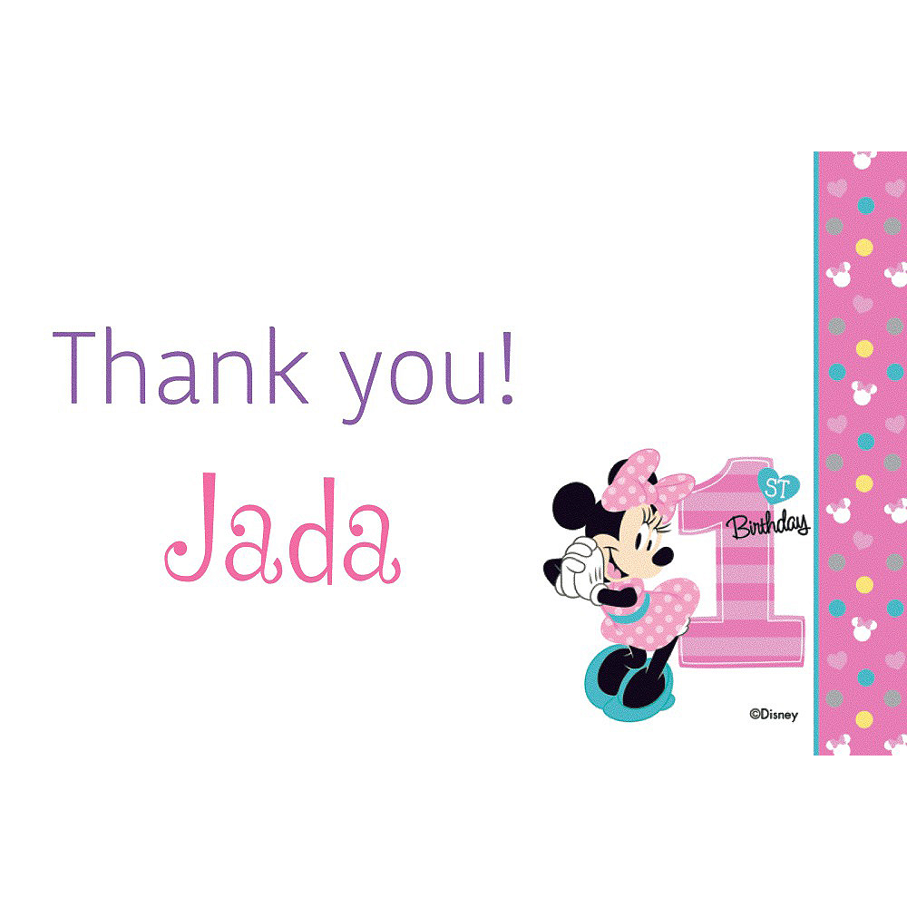 Custom Minnie's 1st Birthday Thank You Note Image #1