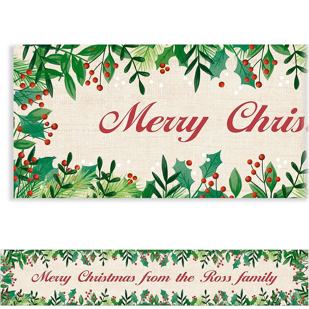 Custom Holly Merry Christmas Banner Image #1