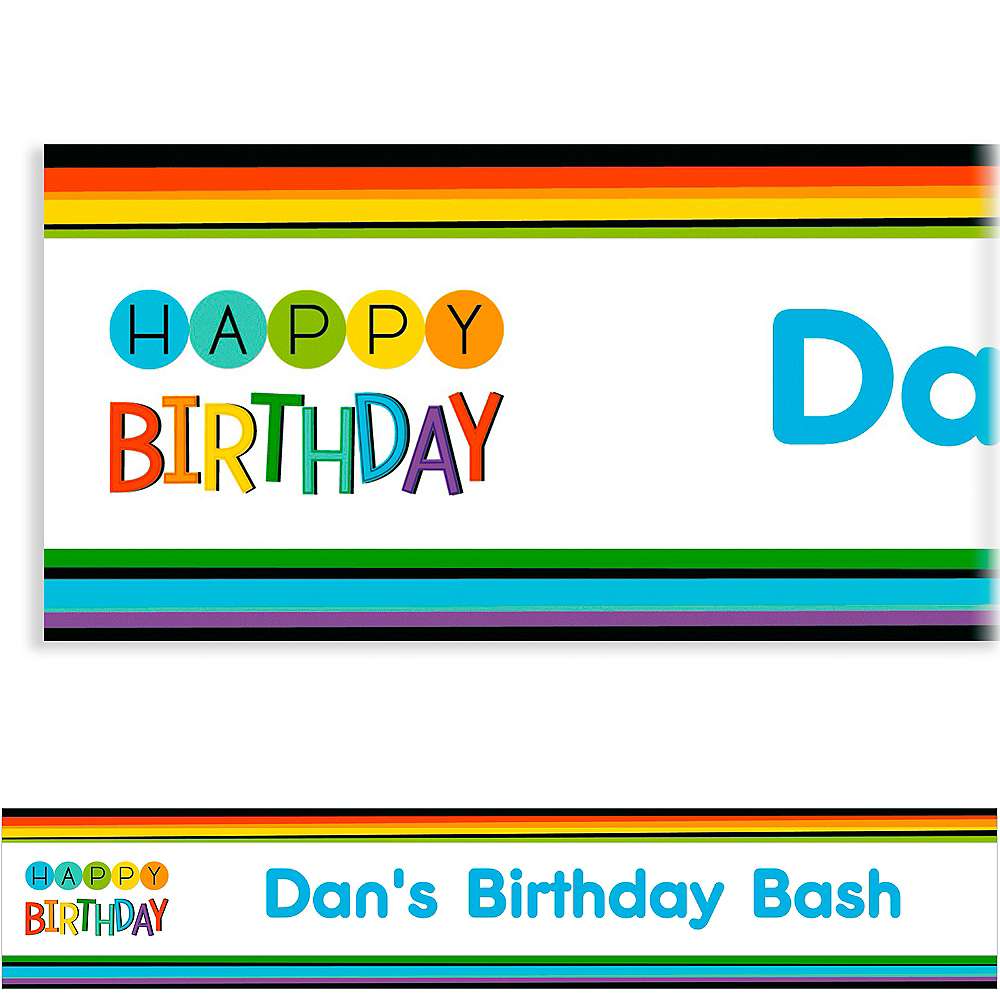 Custom Rainbow Happy Birthday Banner Image #1