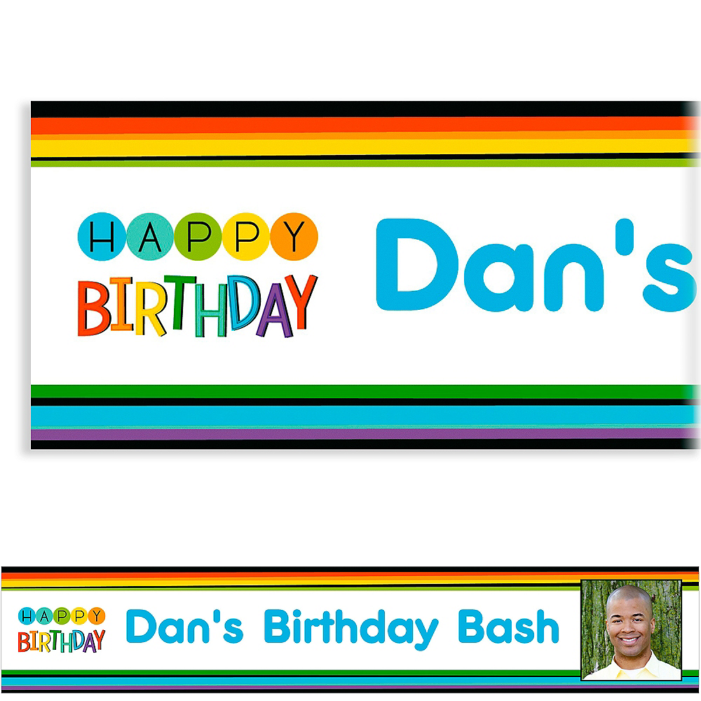 Custom Rainbow Happy Birthday Photo Banner Image #1