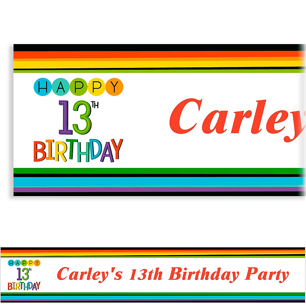 Custom Rainbow 13th Birthday Banner Image #1