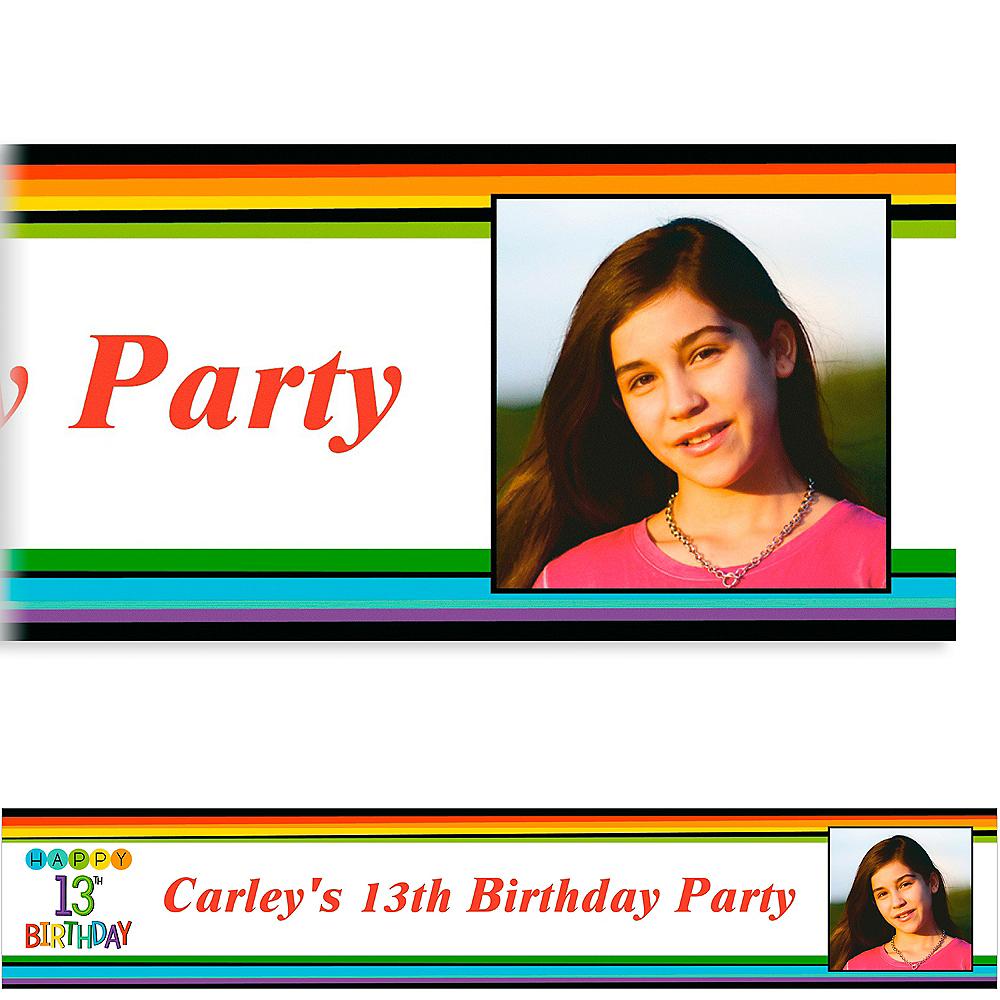 Custom Rainbow 13th Birthday Photo Banner Image #1