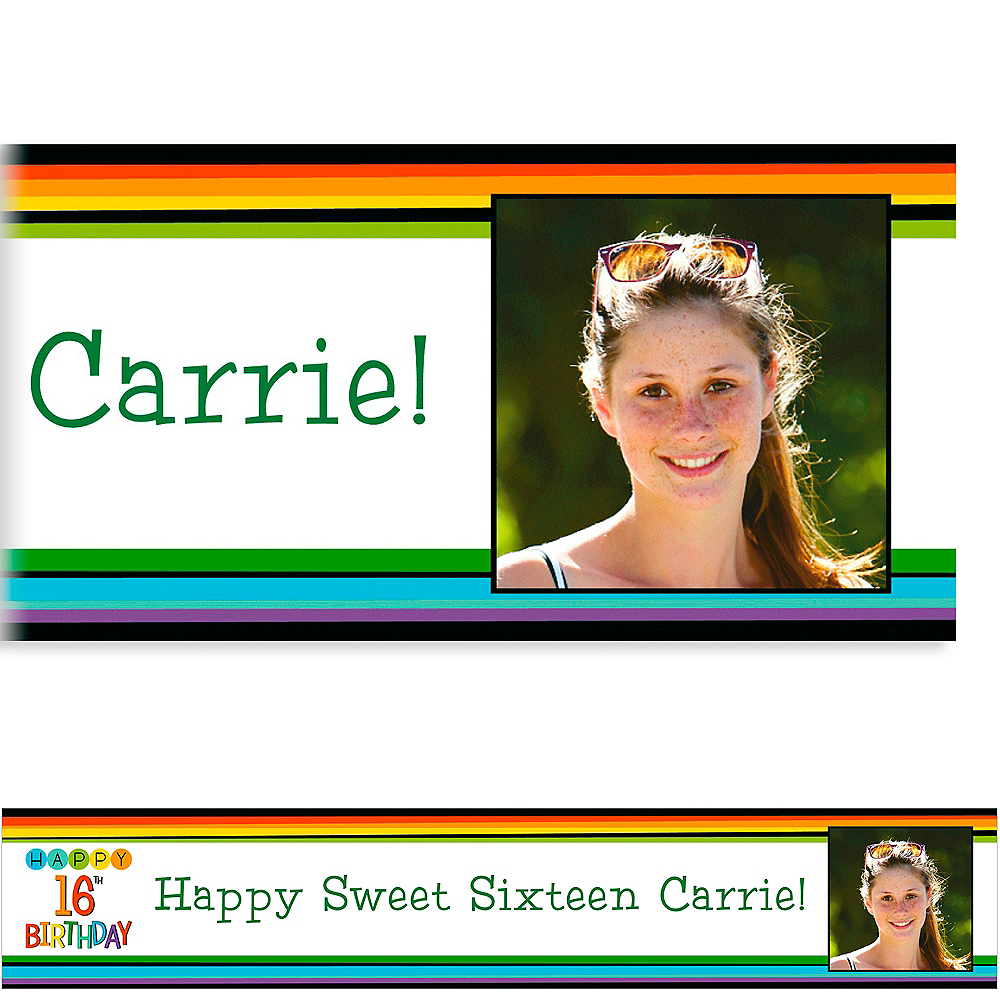 Custom Rainbow 16th Birthday Photo Banner Image #1