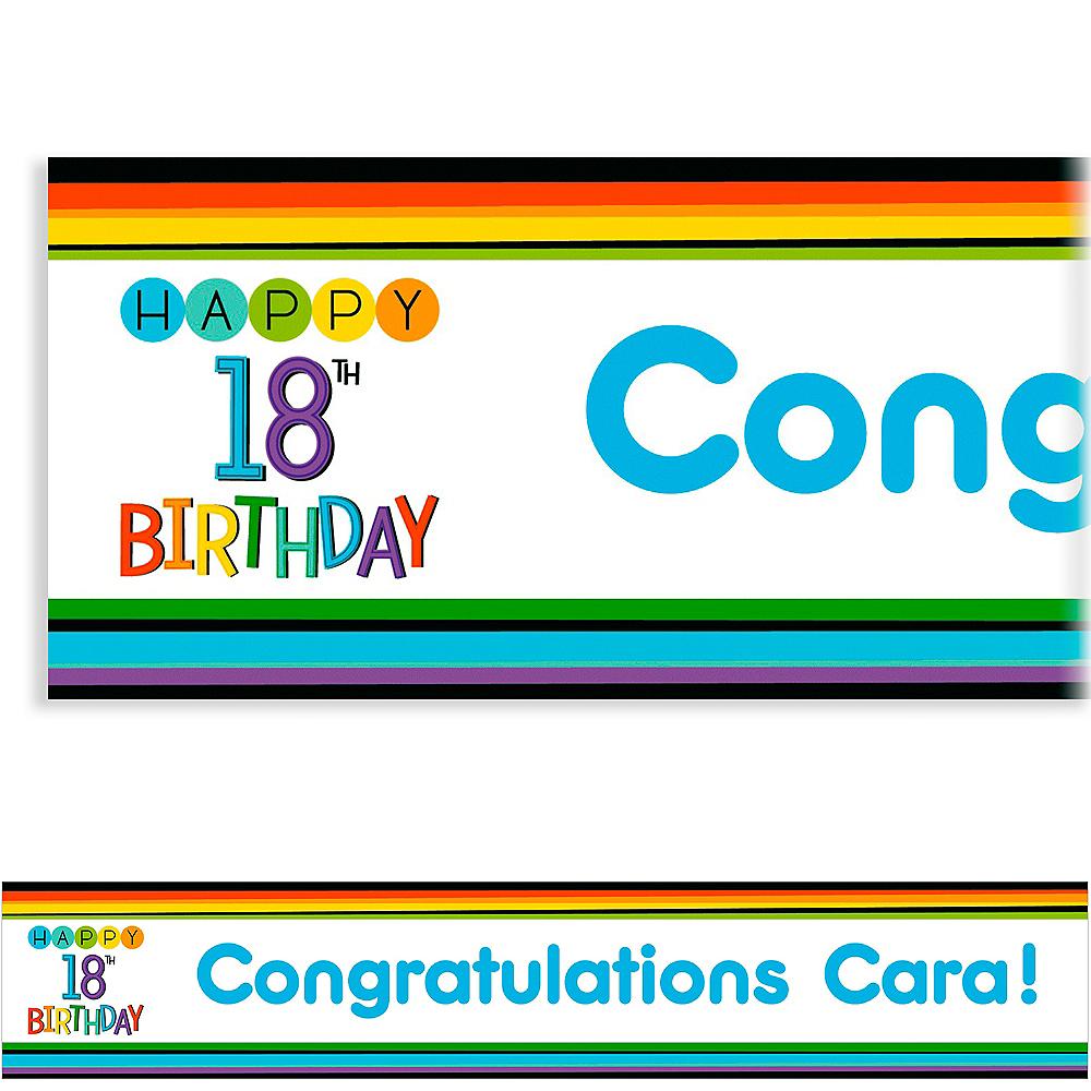 Custom Rainbow 18th Birthday Banner Image #1