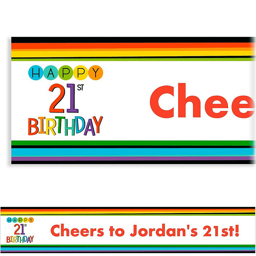Custom Rainbow 21st Birthday Banner Image #1