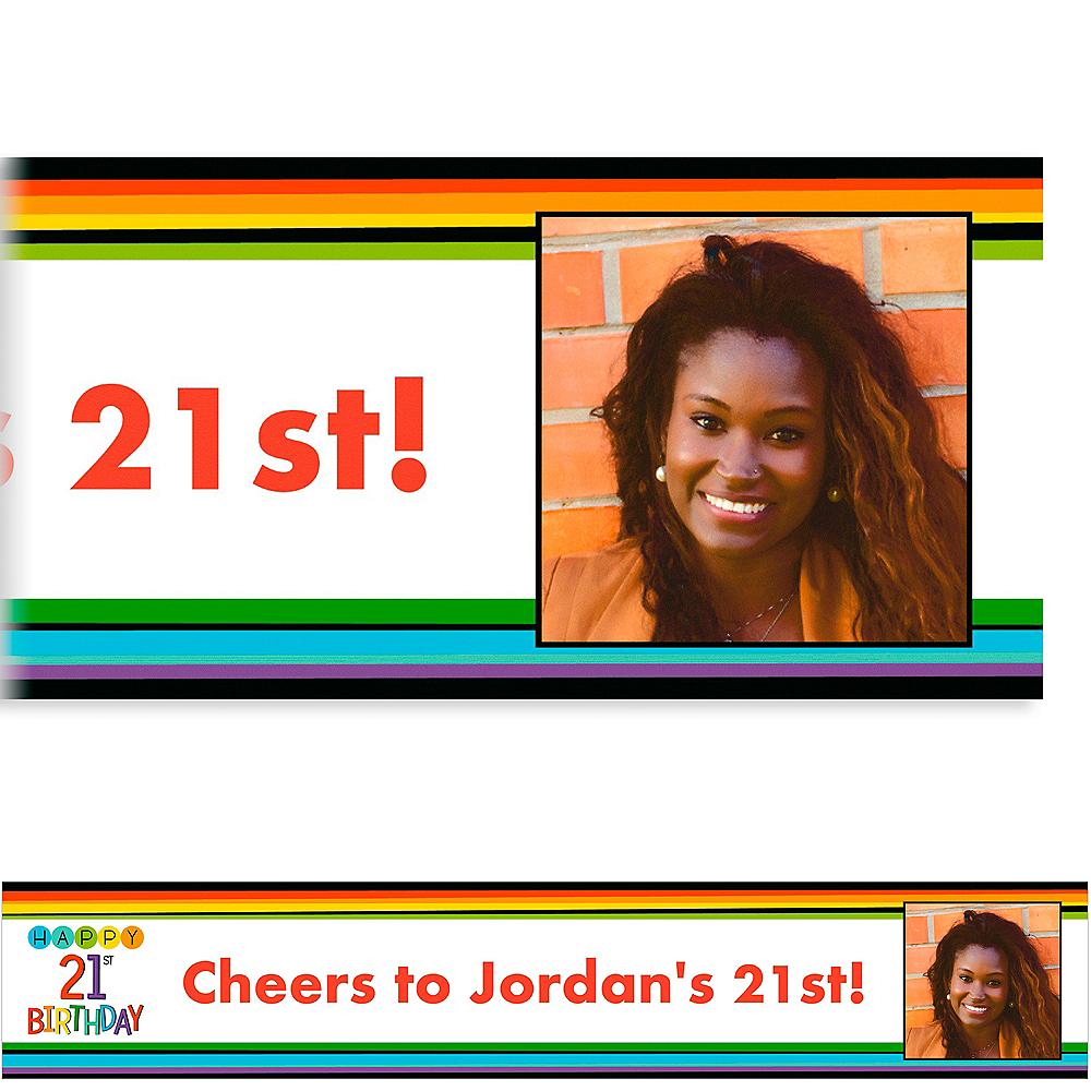 Custom Rainbow 21st Birthday Photo Banner Image #1