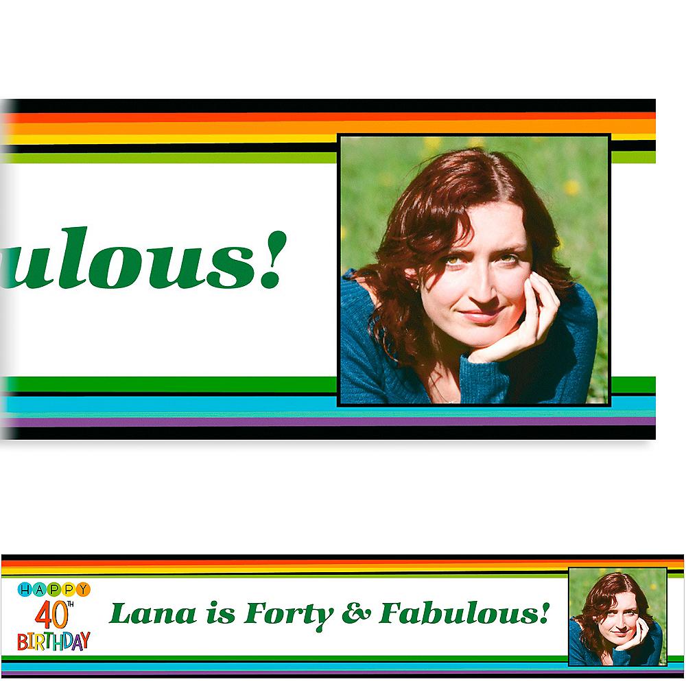 Custom Rainbow 40th Birthday Photo Banner Image #1