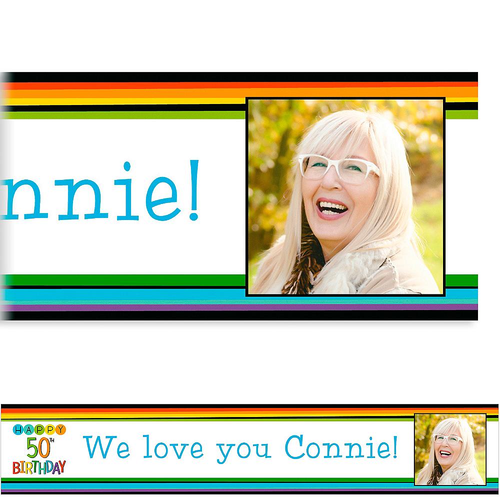 Custom Rainbow 50th Birthday Photo Banner Image #1