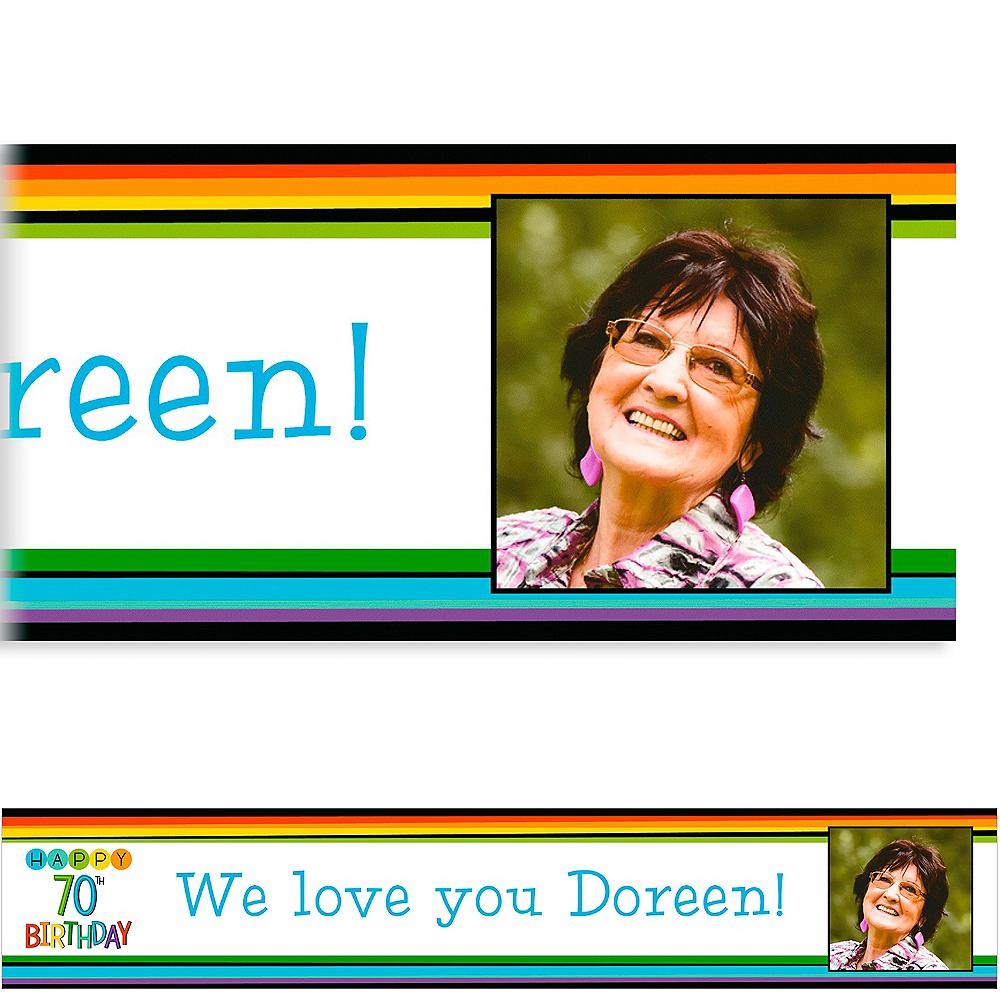 Custom Rainbow 70th Birthday Photo Banner Image #1
