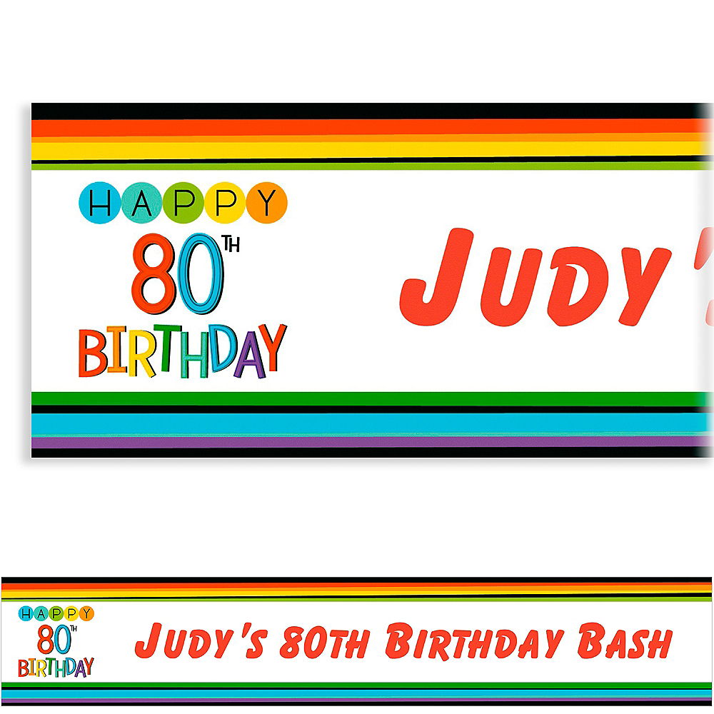 Custom Rainbow 80th Birthday Banner Image #1