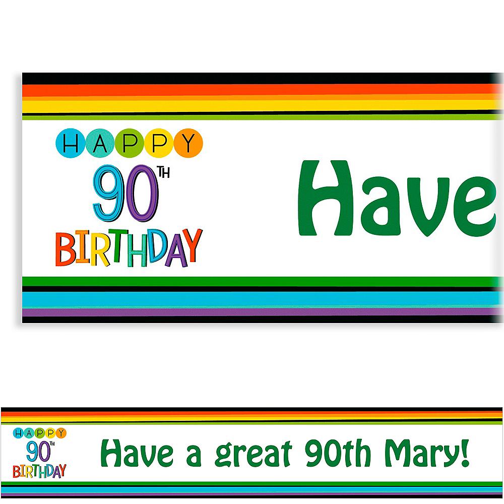 Custom Rainbow 90th Birthday Banner Image #1