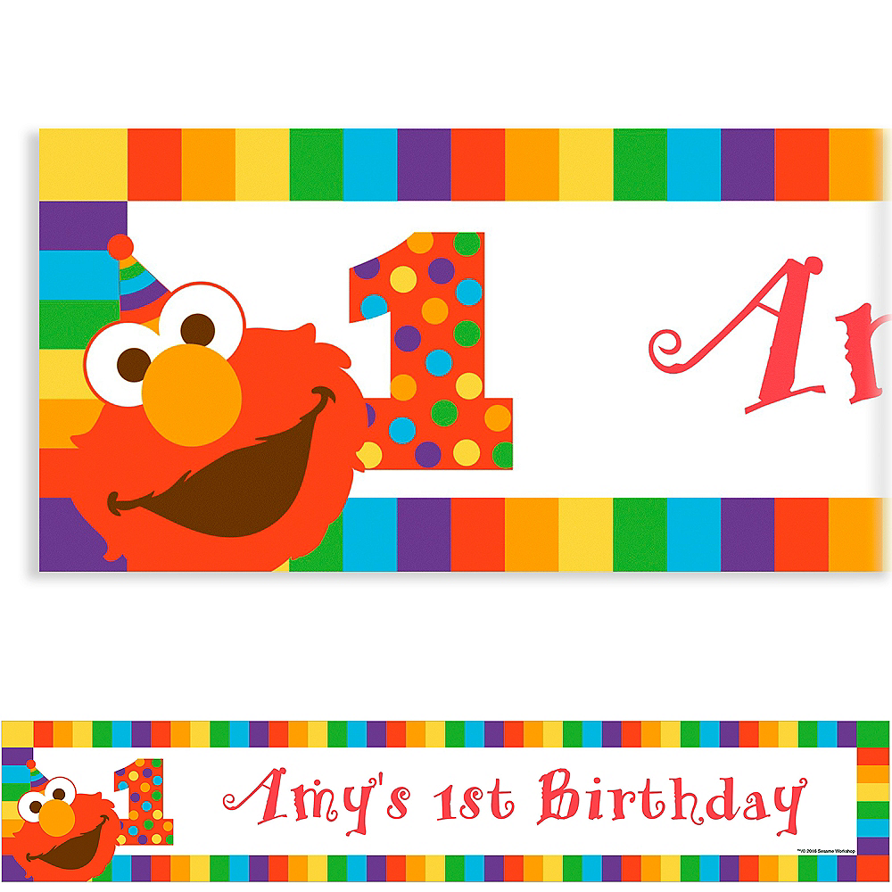 Custom Elmo 1st Birthday Banner Birthday Banners Party City