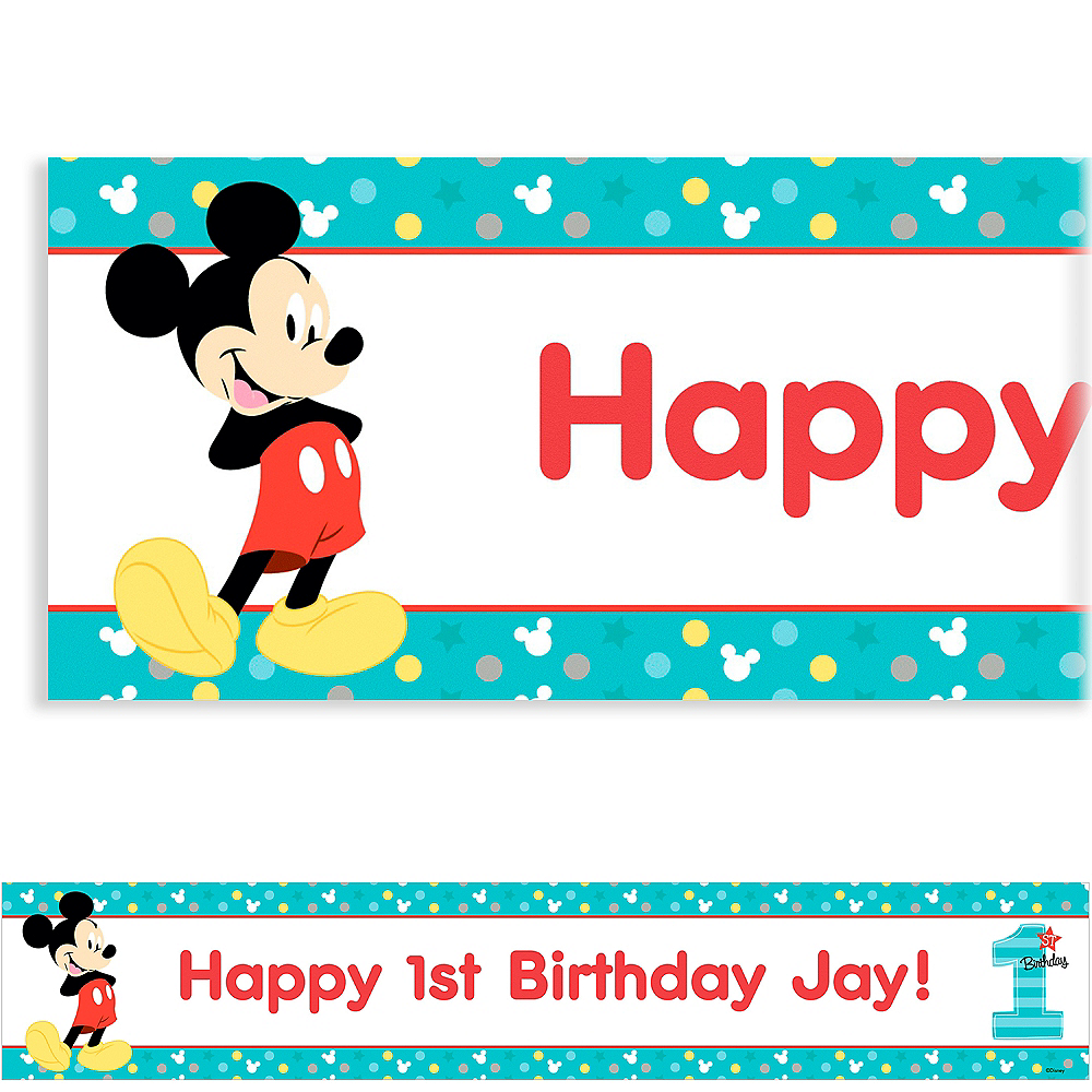 Custom Mickey's 1st Birthday Banner Image #1