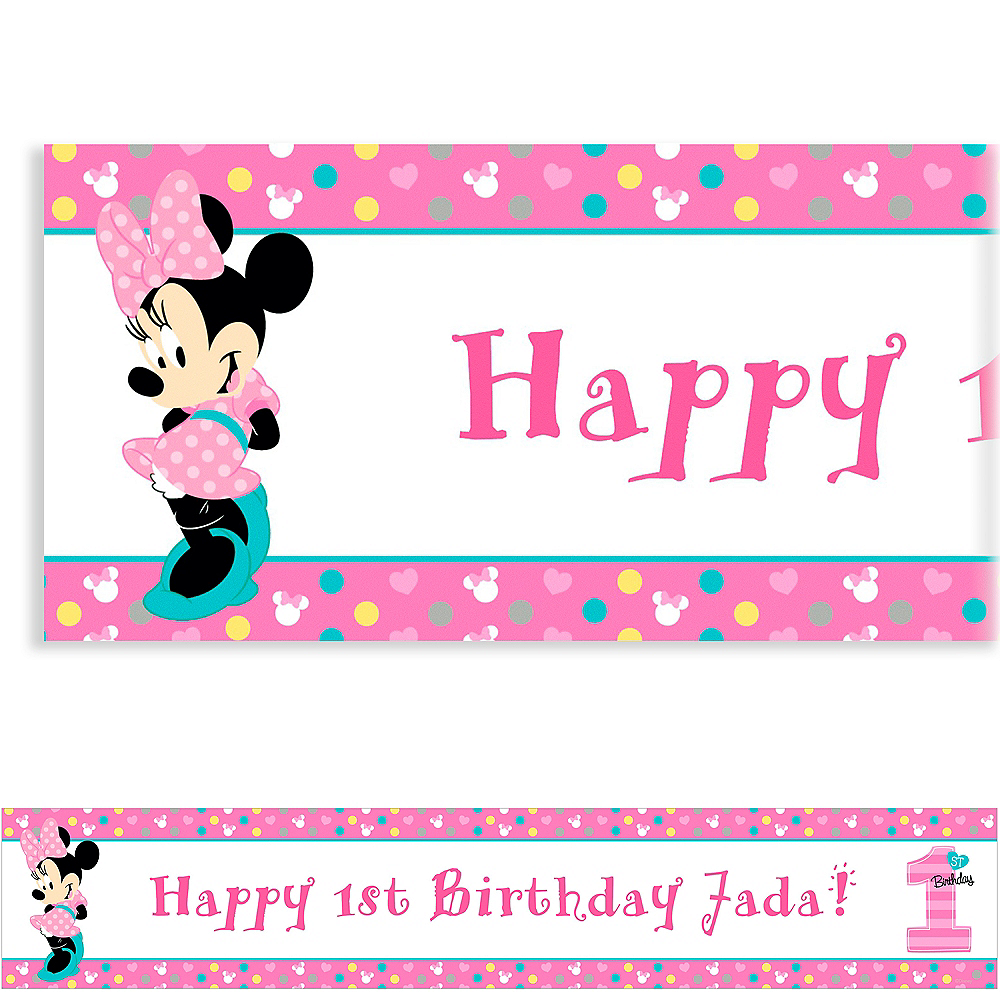 Custom Minnies 1st Birthday Banner