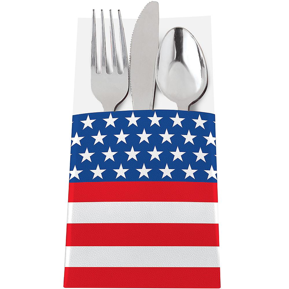 Patriotic American Flag Cutlery Holders 12ct Image #1