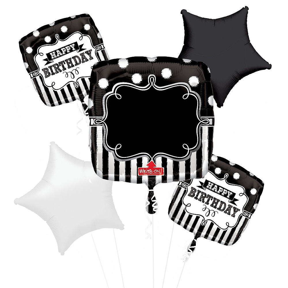Personalized Chalkboard Dots Birthday Balloon Bouquet 5pc Image #1