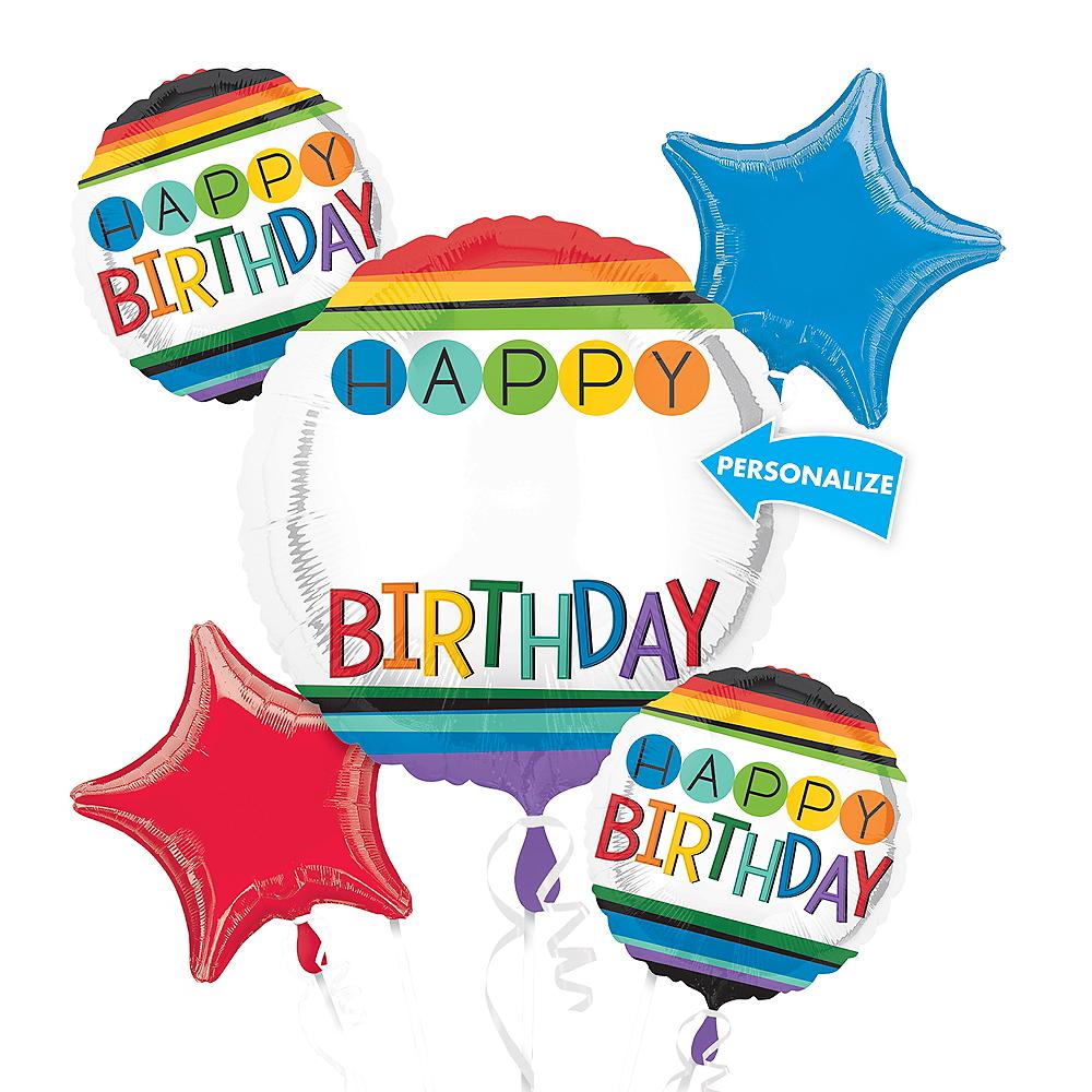 Rainbow Happy Birthday Balloon Bouquet 5pc Image #1
