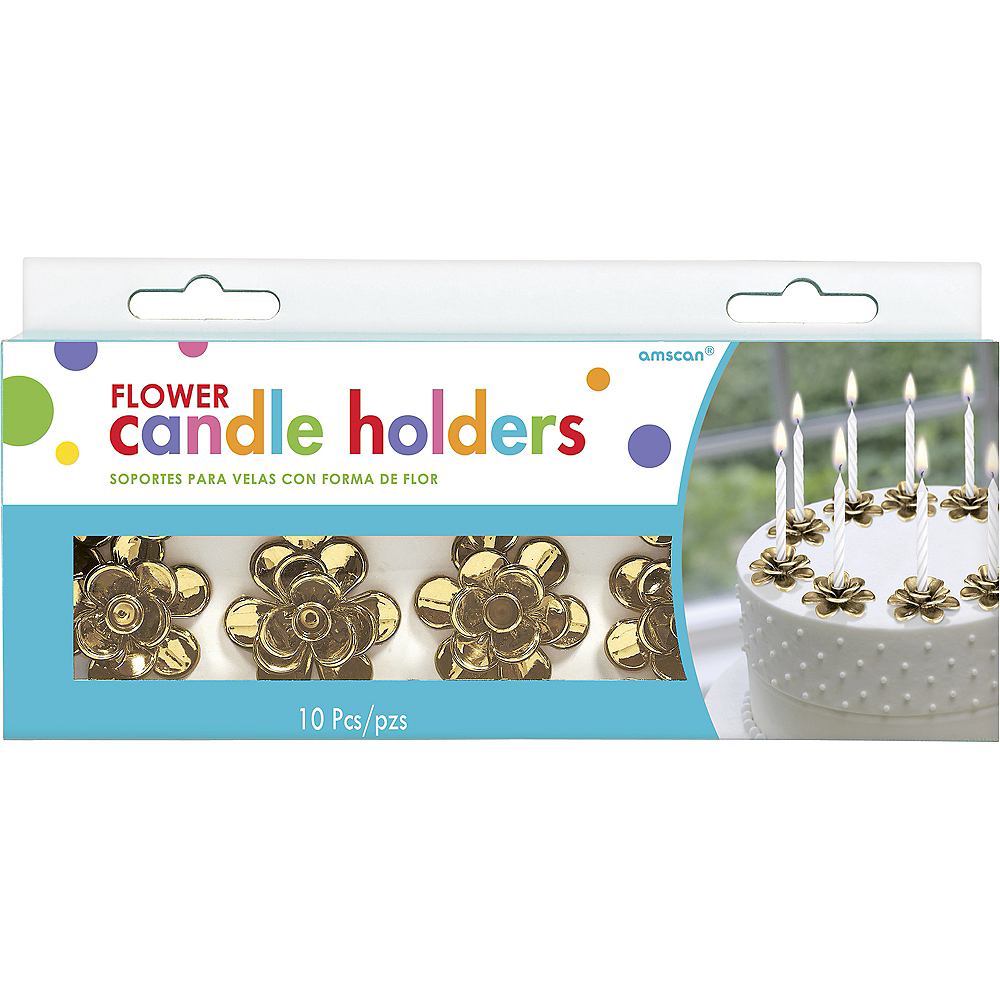 Gold Flower Candle Holder Cake Toppers 10ct Image #2