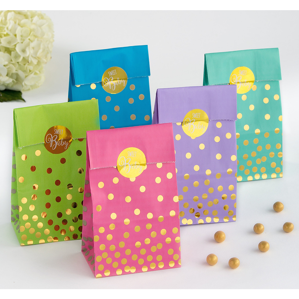 Gender Neutral Gold Polka Dot Baby Shower Treat Bags 20ct Image 1