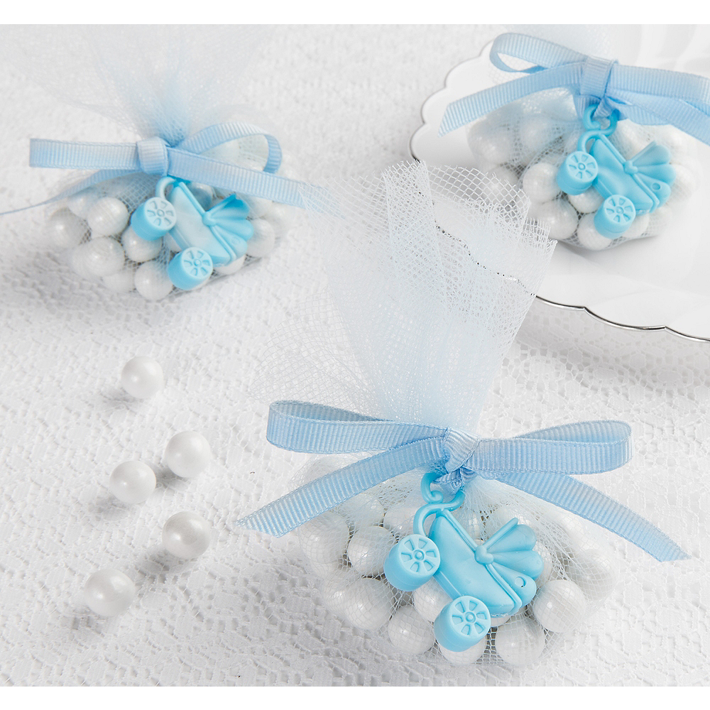 Blue Stroller Baby Shower Favor Charms 12ct Image #1