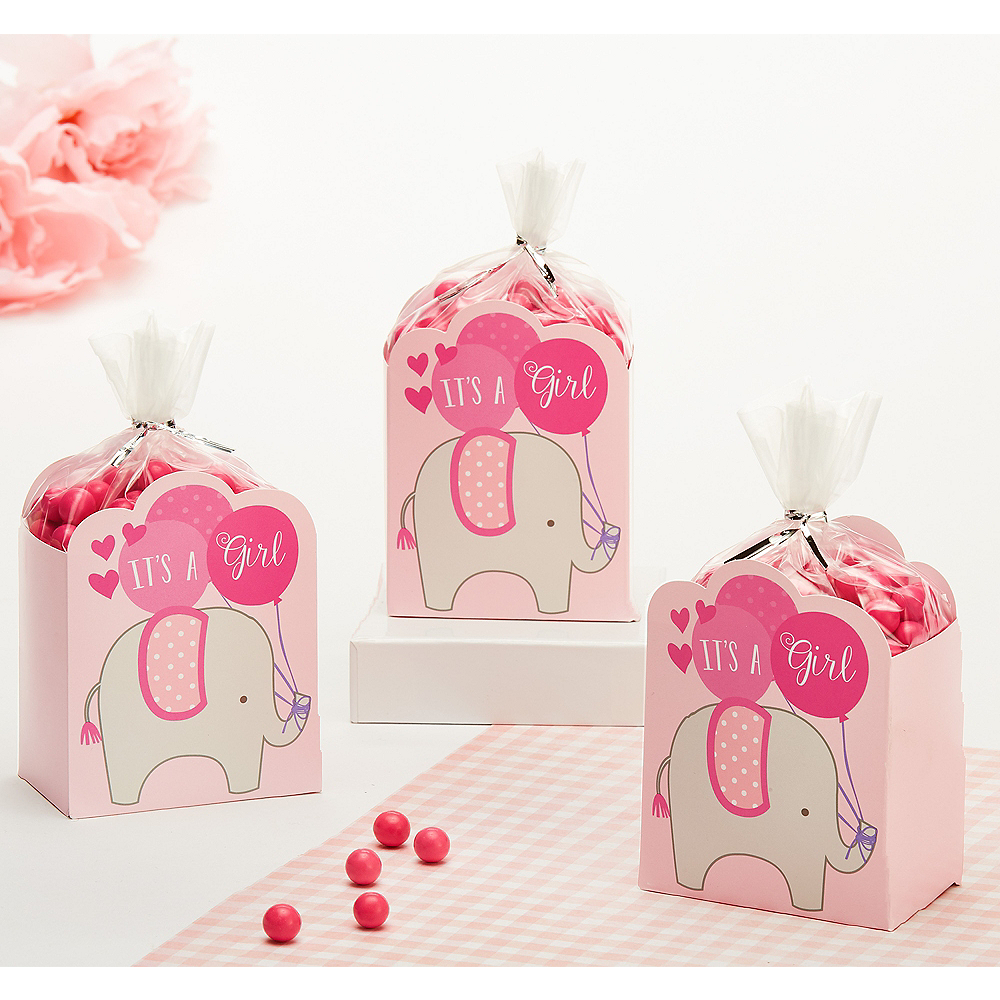 Pink It's a Girl Baby Shower Favor Box Kit 8ct Image #1