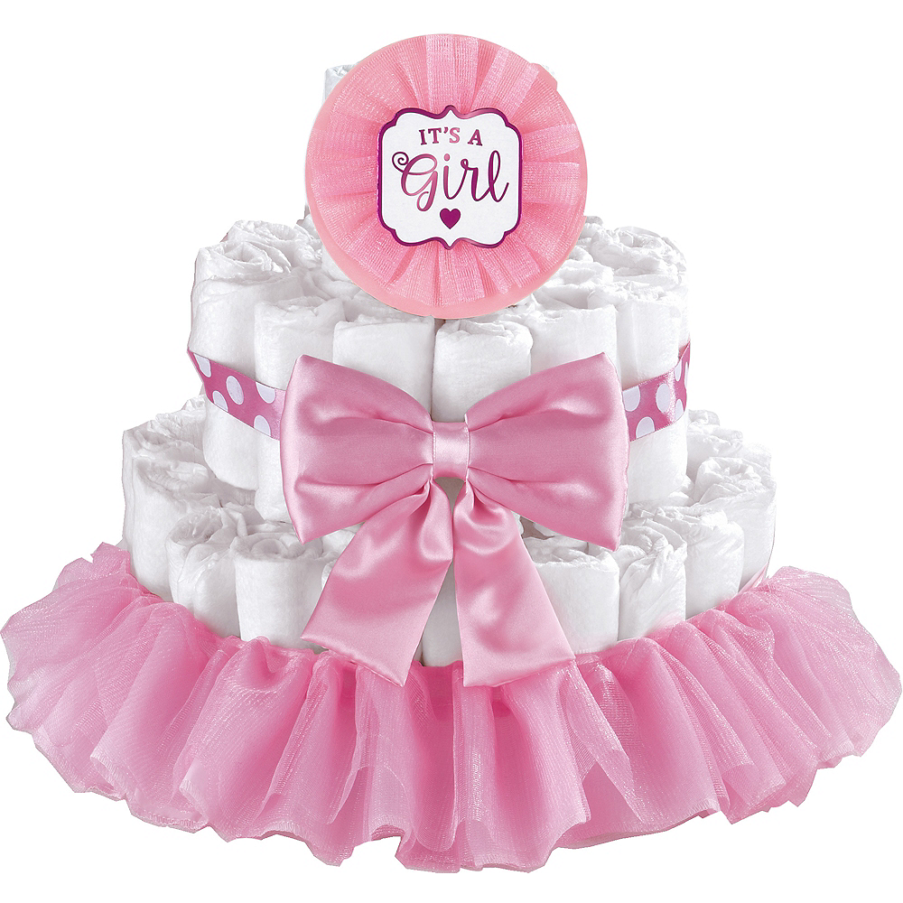 Pink It's a Girl Baby Shower Diaper Cake Decorating Kit Image #1