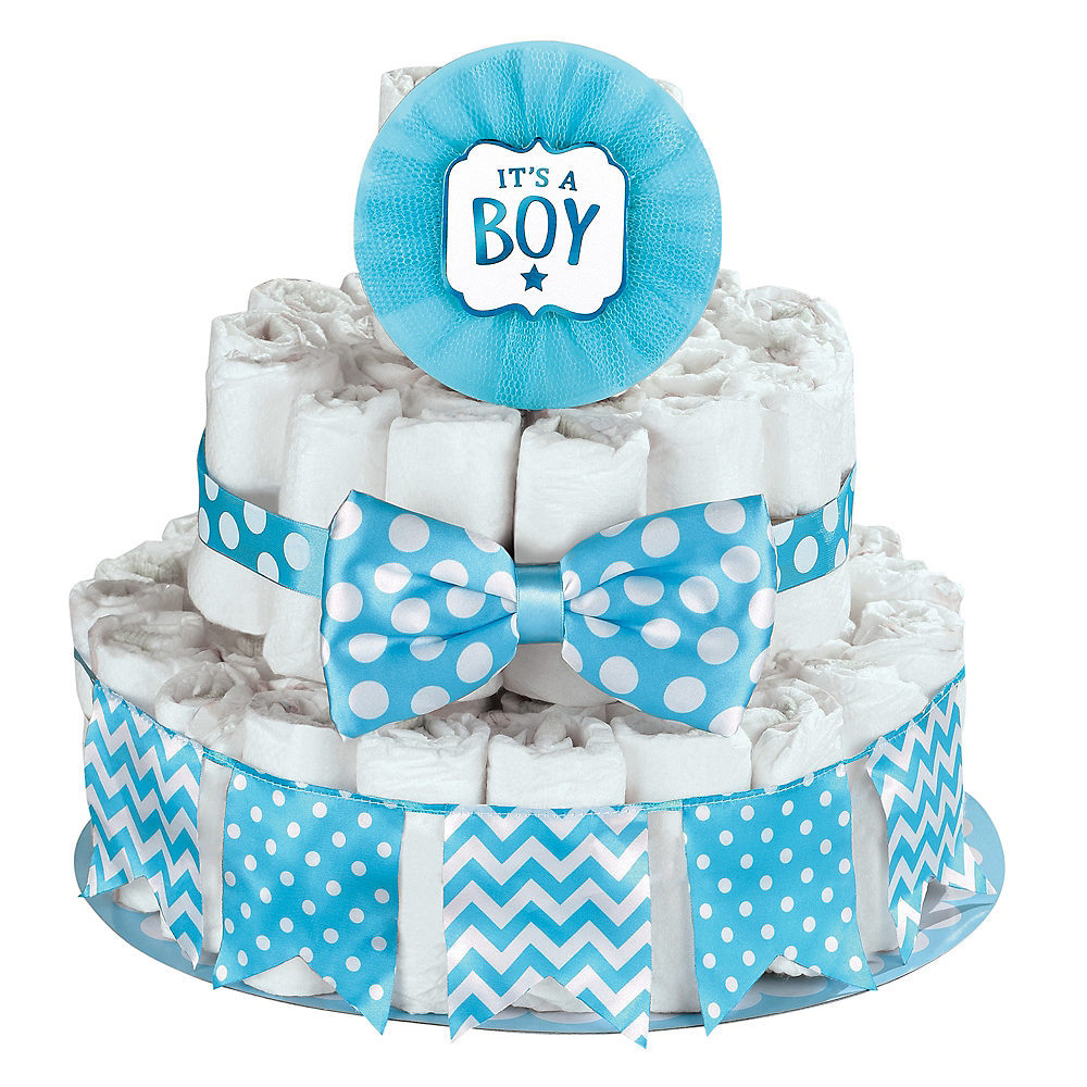 Blue Its A Boy Baby Shower Diaper Cake Decorating Kit Image 1