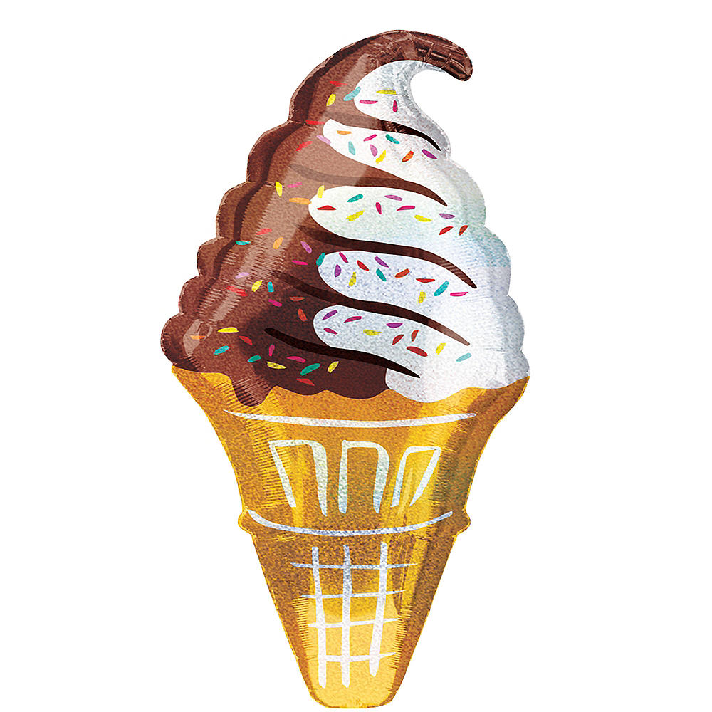 Giant Prismatic Ice Cream Cone Balloon, 18in Image #1