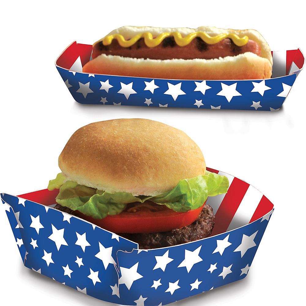 Patriotic American Flag Paper Food Trays 50ct Image #1
