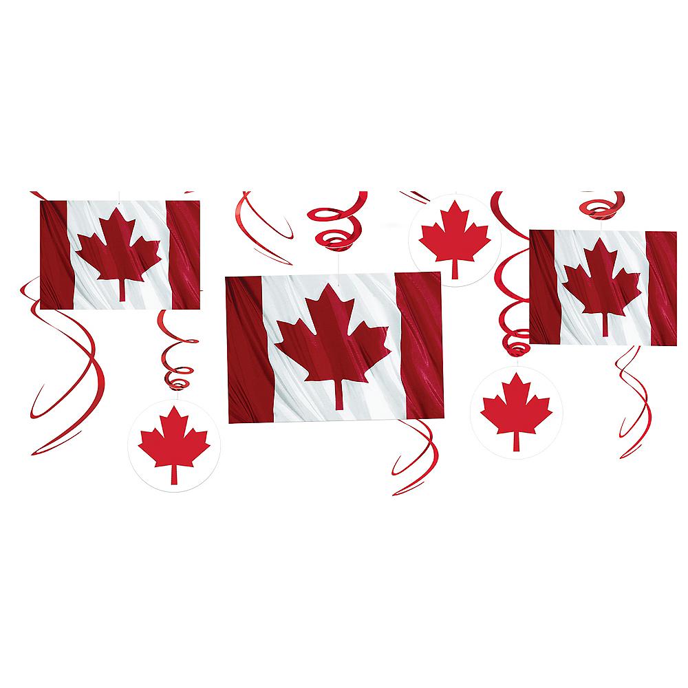 Canadian Flag Swirl Decorations 12ct Image #1