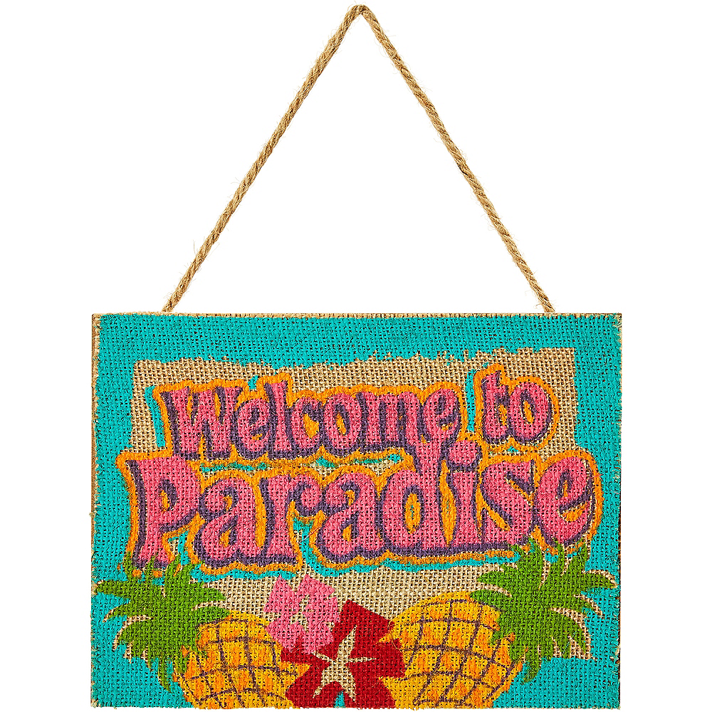 Burlap Welcome to Paradise Sign Image #1