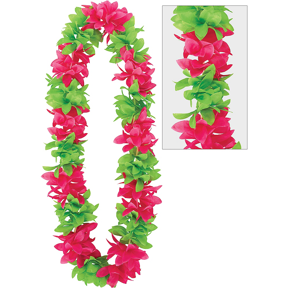 Green & Pink Flower Lei Image #1