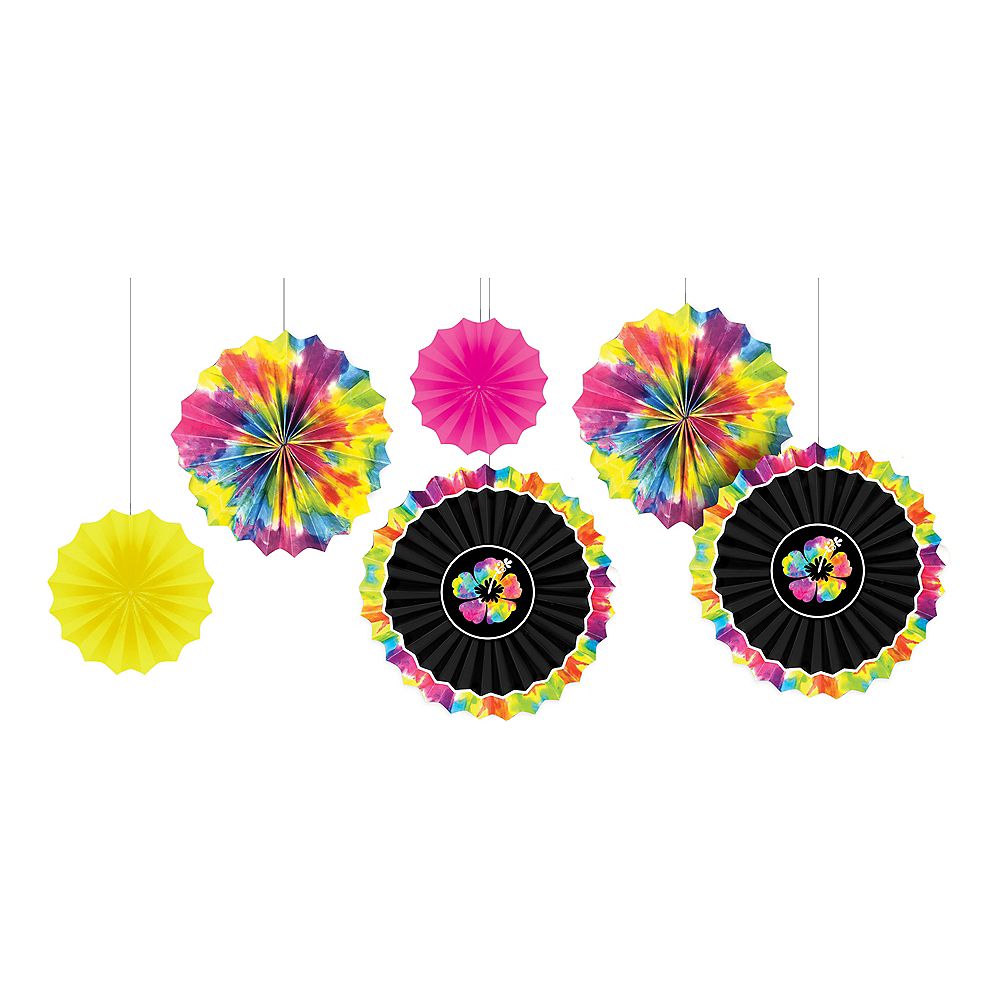 Neon Hibiscus Paper Fan Decorations 6ct Image #1