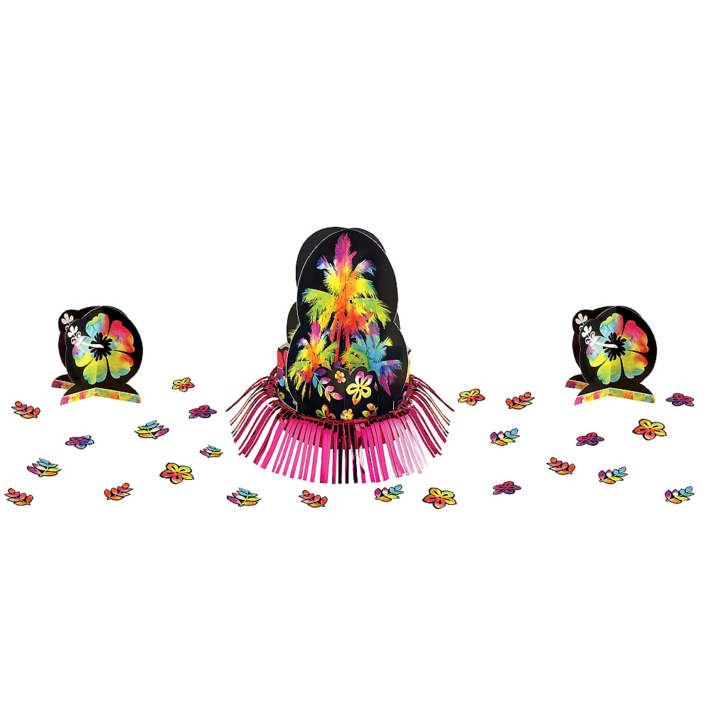 Neon Hibiscus Table Decorating Kit 23pc Image #1