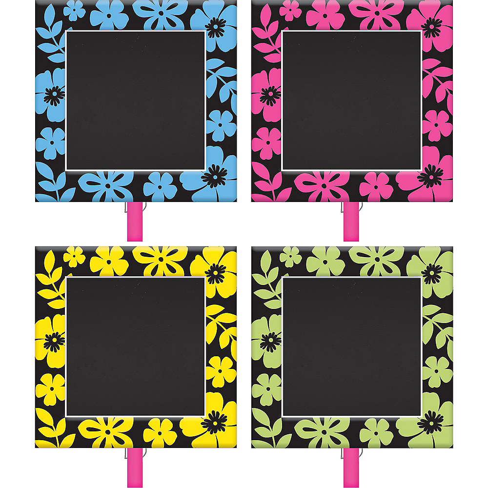 Neon Hibiscus Chalkboard Clips 8ct Image #1