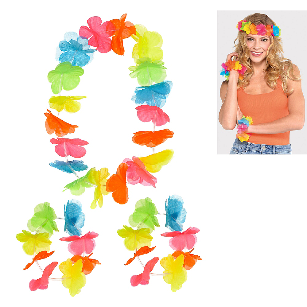 Bright Flower Lei Accessory Set 3pc Image #1