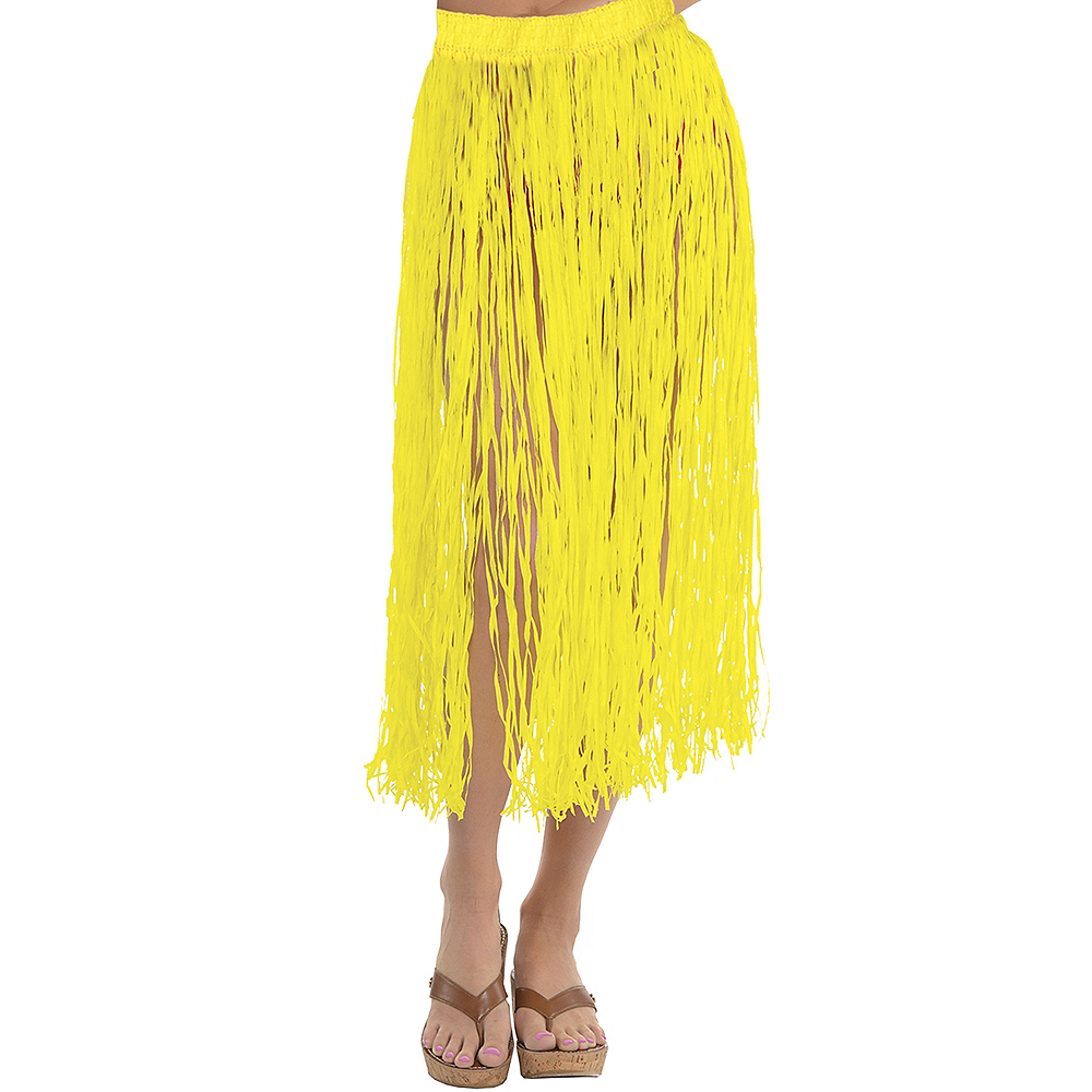 Adult Long Yellow Hula Skirt Image #1