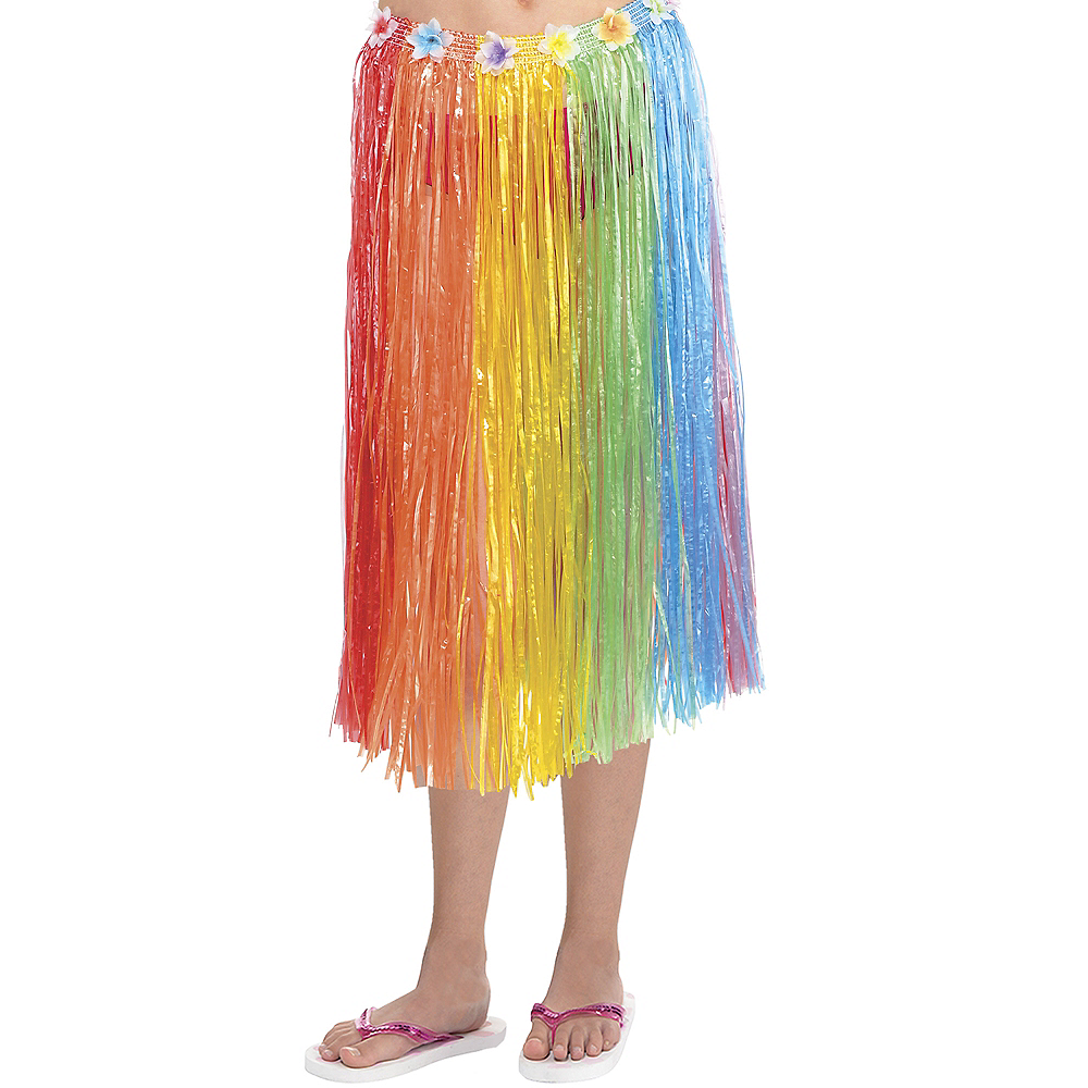 Adult Long Rainbow Hula Skirt Image #1