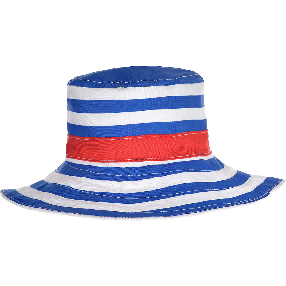 Blue & White Striped Bucket Hat Image #1