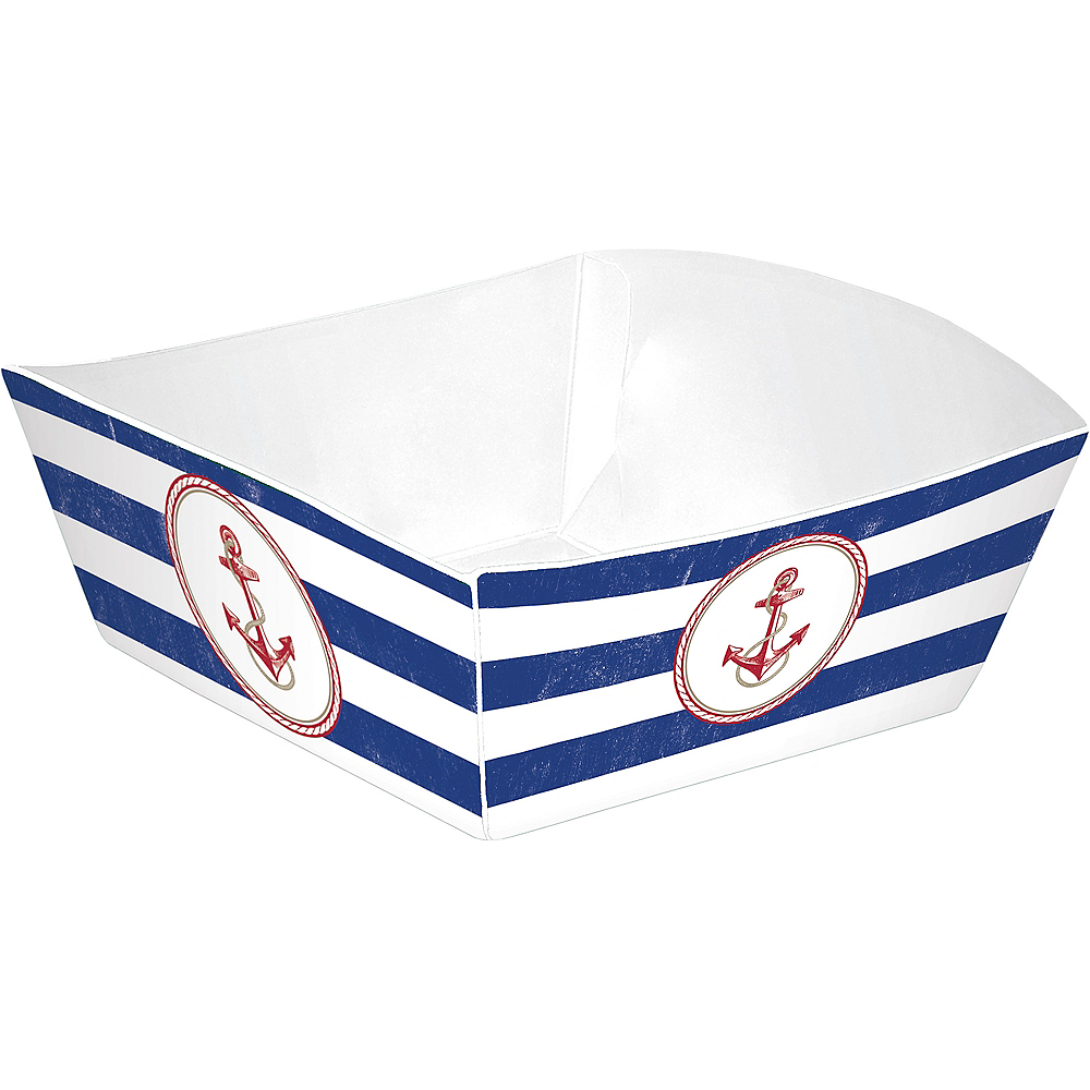 Striped Nautical Paper Food Trays 50ct Image #2