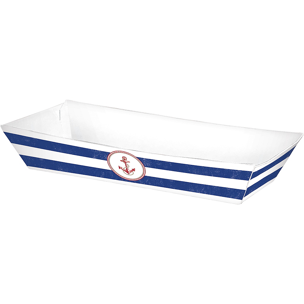 Striped Nautical Paper Food Trays 50ct Image #3
