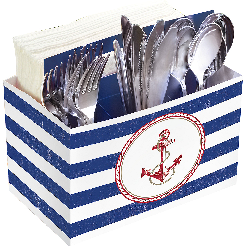 Striped Nautical Utensil Caddy Image #1