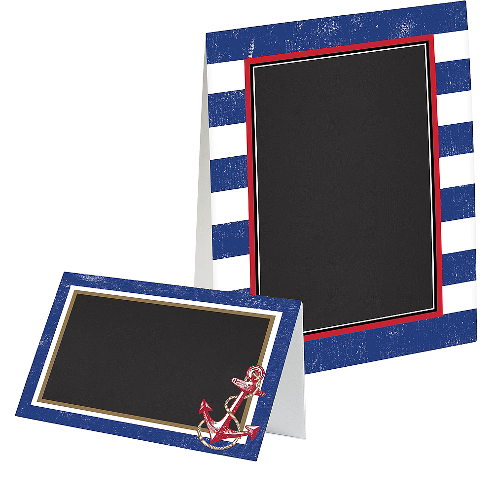 Striped Nautical Chalkboard Tent Cards 8ct Image #1